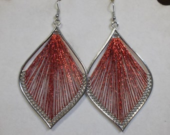 Valentine Beautiful Red and Silver Metallic Leaf Orament Thread Earrings Boho, Native, Southwestern, Peruvian, Hippie, Xmas Ready to Ship