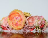 Flower Crown - Yellow and Coral Flower Rustic Halo - Flowergirl hairpiece - Wedding - Newborn Prop - Wedding Crown - Floral Hairpiece
