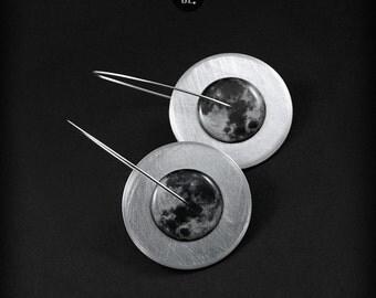 Circles Super Moon - long earrings, 100% handmade