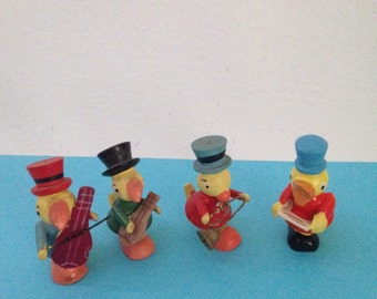 Vintage Easter Erzgebirge Miniature Wooden Duck Band, Animal Band, Christmas Putz Figurines, Tiny Wood Duckling Musicians