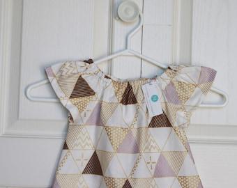 Triangle Dress in Purple, Chocolate Brown, and Metallic Gold