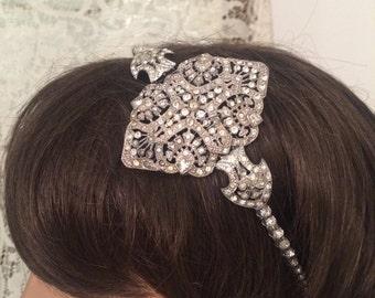 GATSBY TRUE VINTAGE art deco wedding headband headpiece rhinestone Victorian true vintage roaring 20's 1920's Bridal accessories headband