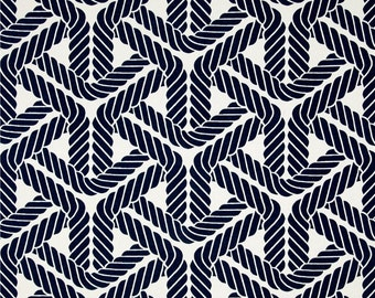 Two  96 x 50 Custom Curtain Panels - Indoor / Outdoor - Geometric Trellis Navy Blue