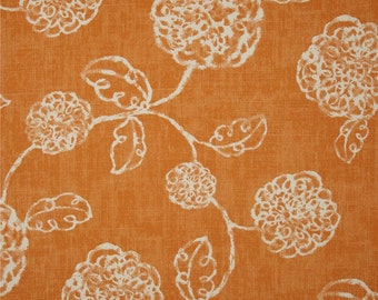 One  Custom King/Queen Duvet Cover and  Two 26 x 26 Custom Pillow Covers - Floral Orange/Ivory