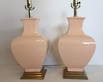 Pink Blush Lamps, Pair