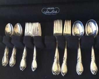 International Silver Rhapsody sterling flatware silverware 40 pieces plus box 1950s timeless elegance