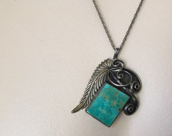 Silver turquoise necklace signed R vintage Native American 1970s Navajo large feather setting with spirals