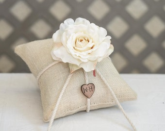Cream Rose  ring bearer pillow. Customize with flower and bride and groom initials