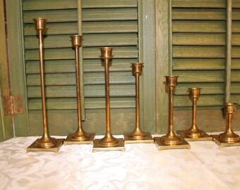 Vintage Set of  Brass Candle Holders / Graduated Size Brass Candlesticks / Solid Brass Candle Stick Holder Set