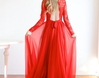 Red Maxi Open Back Lace and Silk Evening Ball Prom Wedding Gown