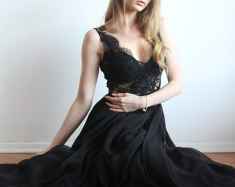 Maxi Silk and Lace Black Gown Unique Handmade Nude Dress Haute Couture