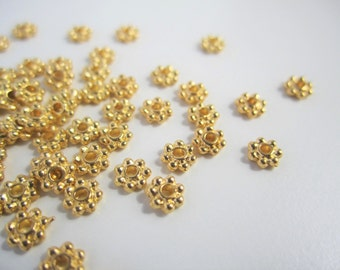 100 tiny small 2x4mm gold plated flower spacer disc beads