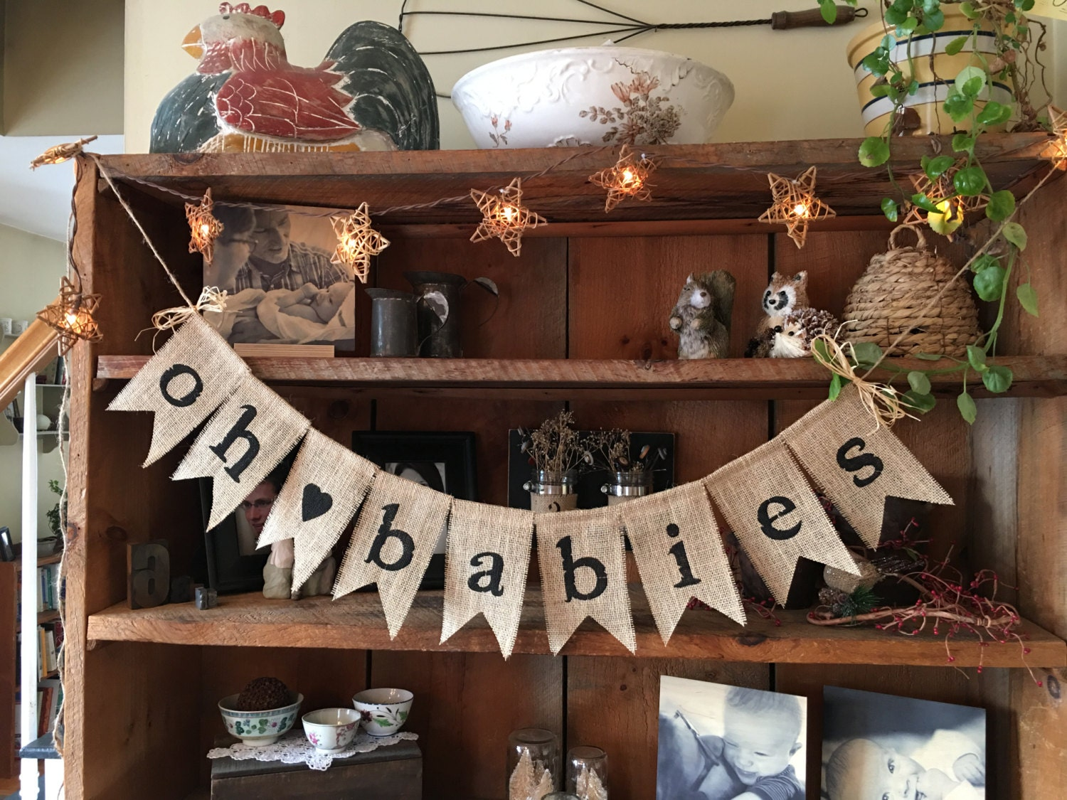 burlap baby bunting baby shower decoration twins bunting