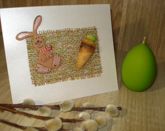 Easter Bunny Rabbit with Carrot, Spring Happy Easter Holiday Greeting Card, Handmade Blank Art Card - Holiday Greeting Congratulations Cards