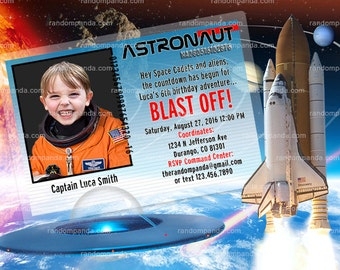 ON SALE Out Of This World Party, Astronaut Invitation, Alien Invitation
