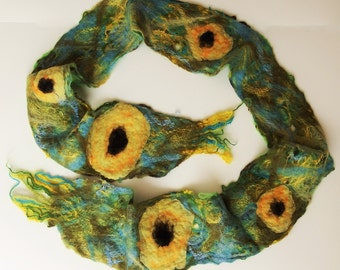 Felted, cobweb, scarf, yellow, green, blue, sunflower, floral, hip belt, long scarf, birthday day gift idea, for her,handmade, summer trends