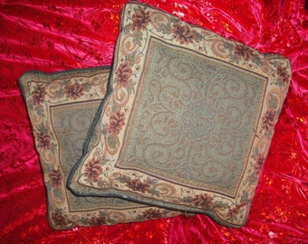 Floral Tapestry Pillows - Victorian Style - Vintage Pair