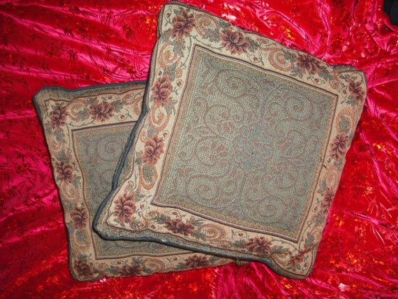 Victorian Tapestry Pillows : Floral Tapestry Pillows Victorian Style Vintage Pair