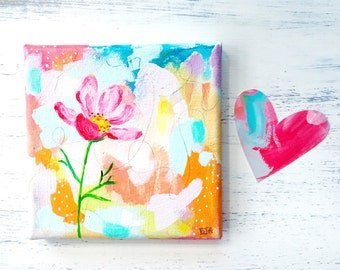 Pink Cosmo Floral Original Painting on 5x5 inch Canvas