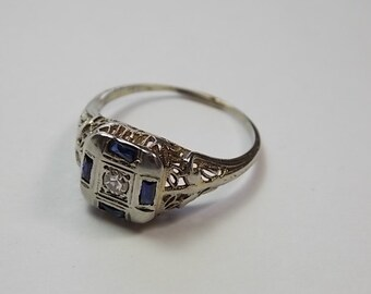 Antique Sapphire and Diamond Filigree Ring .09Ctw White Gold 18K 2.3gm Size 6