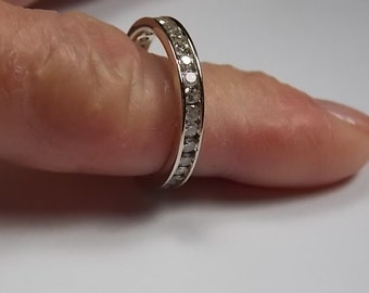 Diamond Eternity Ring 1 Carat 3mm wide White Gold 14K 2.7gm Size 7.25 Can't be sized