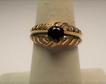 Ruby Ring Vintage Belcher Mounting2.25Ct Yellow Gold 9K Israel 6.9gm Size 9.5 1970s