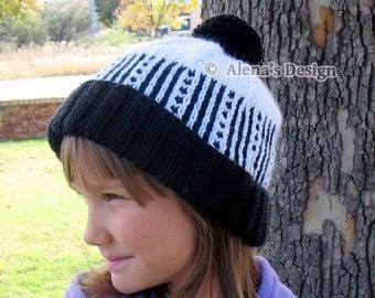 Knitting Pattern 148 - Knit Hat Pattern - Diane Pom-Pom Hat - Beanie Slouchy Hat Toddler Child Teen Unisex Adult Boys Girls Hat Winter Hat