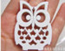 4 PCS - 36x50mm Pretty White Lucky Owl Wooden Charm/Pendant MH105 04