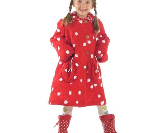 """Beautiful felted wool coat """" Red White Spotted """"  long A Line gown Childrens Coat Girls Winter Coat Toddler Girls Coat Girls Dress Coat"""