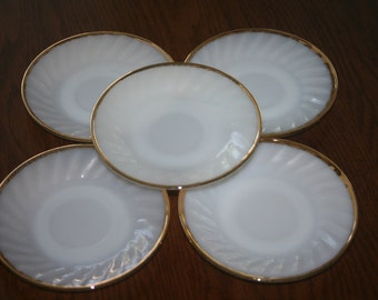 Vintage Fire King White Milk Glass Gold Trim Five Saucers Made in USA