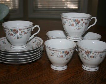 Vintage Fine Bone China Tea Coffee Set of Six 6 White Orange Rust Blue Elegant Gold Trim