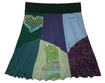 Plus Size 3X 4X Kermit the Frog Skirt Women's upcycled clothing from Twinkle