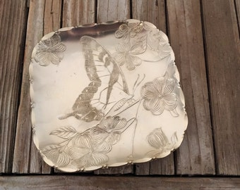 Vintage Butterfly Tray Arthur Armour Gold Asian