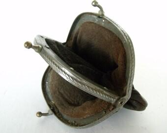 Antique Leather Coin Purse Vintage Small Change Pouch Double Clasp Porte Monnaie