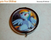 ON SALE Metal Compact Mirror made from Upcycled Rainbow Dash Comic Book Artwork, My Little Pony
