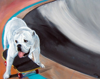 "English Bulldog Art Print made from an original oil painting, Dog Art, ""Bowl Skater"", 8x10"