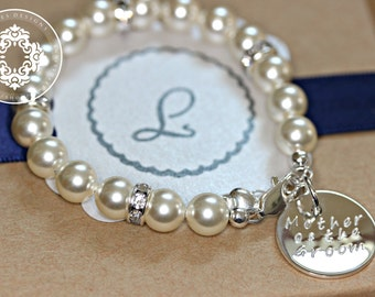 Mother of the Groom Gift, Mother of the Bride gift, Swarovski Crystal Pearl Bracelets,  Bridal party, Bridal Accessories, Wedding