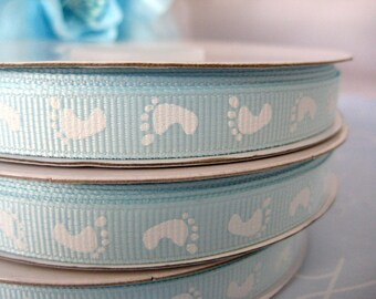 Blue Baby Footprints Ribbon for Crafting, Scrapbooking, Baby Shower Party, Pacifier Clip, Cardmaking  - 2 Yards , 3/8 inch (9.5 mm) width