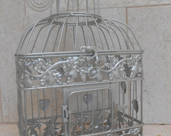 Small Silver Wedding Birdcage Card Holder / Wedding Card Box / DIY Wedding / Wedding Supplies