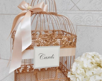 Large Rose Gold and Blush Wedding Card Box / Wedding Card Holder / Birdcage Card Holder / Wedding Decor / Large Card Holder / Birdcage