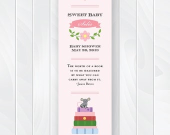 Story Book Baby Shower Favor Tags, Library Shower Bookmarks, Book Baby Shower Bookmark Favors, Stock the Library Book Theme, Printable #0108