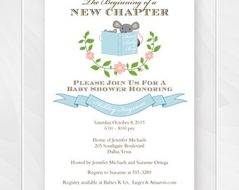 Blue Stock the Library Story Book Baby Shower Invitation, Bring a Book Shower, Boy Book Theme Invite, Printable File, Digital File #0114