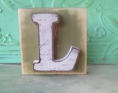 Distressed Green and Ivory Letter L Hanger, Wooden Initial Signs, Gallery Wall Letter Block