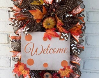 Welcome Fall Swag, Welcome Fall Wreath, Autumn Wreath , Fall Wreath, Thanksgiving Wreath