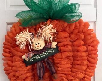 Orange Mesh Halloween Pumpkin Wreath, Scarecrow Pumpkin, Autumn Greeting Pumpkin