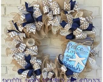 Peace, Love & the Beach Jute Mesh Wreath