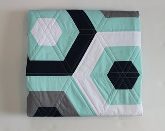 Modern Baby Quilt, Hexagon Quilt, Solids Quilt, Boy Quilt