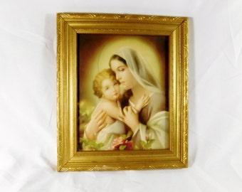 Vintage Madonna and child gold framed print