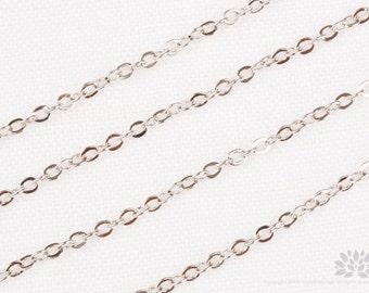 C110-R// Original Rhodium Plated Cable Chain, Gossy, 1M