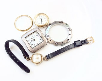Watches parts and pieces for steampunk projects assemblage supplies